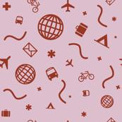 Cityicons Postmodern Travel Print - Lilac/Rust