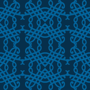 Twilight Blue and Teal Calligraphic Pattern