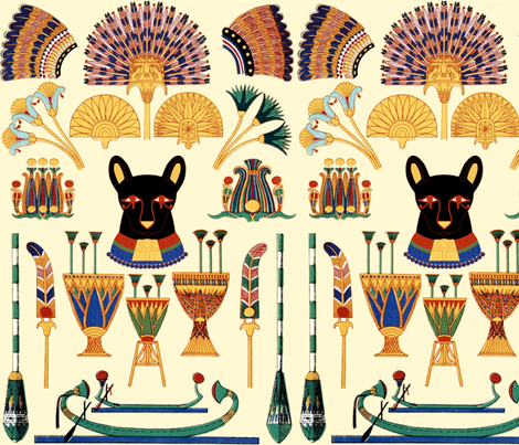 black cats goddesses Bastet Ancient Egypt Egyptian Fans Lotuses Palm trees boats papyrus plants flowers vases crowns Pharaohs kings queen ankh crosses royalty bast eyes rudders oars fabric by raveneve on Spoonflower - custom fabric