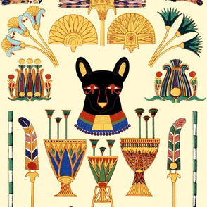 Lotus flower fabric wallpaper gift wrap spoonflower black cats goddesses bastet ancient egypt egyptian fans lotuses palm trees boats papyrus plants flowers vases mightylinksfo Images