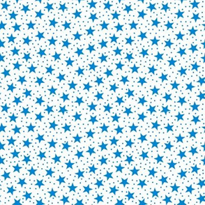 Stars and Dots -Blue and White