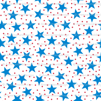 Stars and Dots - Blue Red and White