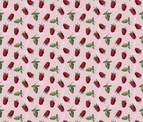 Raspberry, with words fabric by mulberry_tree on Spoonflower - custom fabric