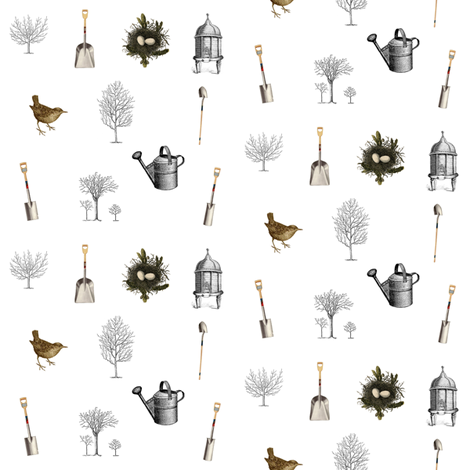 Gardening Trees fabric by janinez on Spoonflower - custom fabric