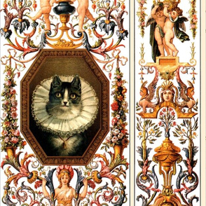 cats frill collars flowers roses cherubs angels trumpets bows ribbons festoons swags floral flowers birds dogs pekingese leaves leaf acanthus butterfly butterflies vases sphinxes Victorian baroque rococo mythical roman