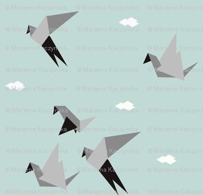 Origami birds - geometric, seafoam mint, grey, monochrome, modern    by sunny afternoon