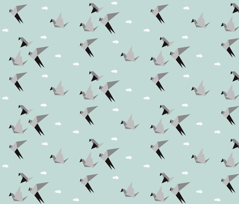 Origami birds - geometric, seafoam mint, grey, monochrome, modern || by sunny afternoon fabric by sunny_afternoon on Spoonflower - custom fabric