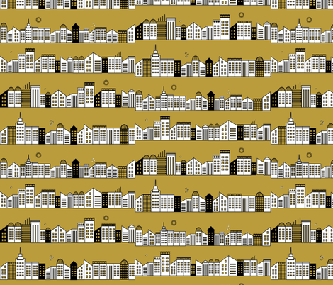 city buildings houses new york - mustard fabric by sunny_afternoon on Spoonflower - custom fabric