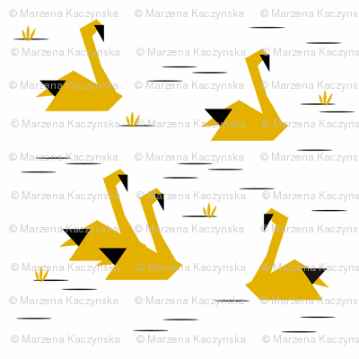 Swans - geometric origami mustard black and white monochrome birds || by sunny afternoon