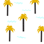 Palm trees - tropical plants geometric waves  monochrome mustard trendy || by sunny afternoon