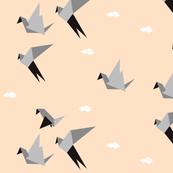 Birds - origami, geometric, blush, peach, pastel || by sunny afternoon