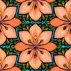 Impressionist Flower in Coral