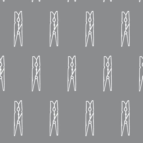 clothespin on slate grey fabric by ali*b on Spoonflower - custom fabric