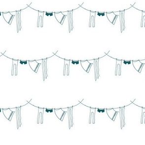 hanging laundry-teal blue