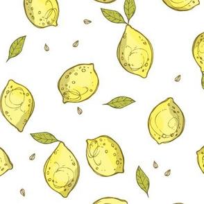 Lemons, on white