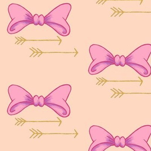 Bows and arrows, baby girl, pretty in pink bows, nursery decor, girl crib sheets