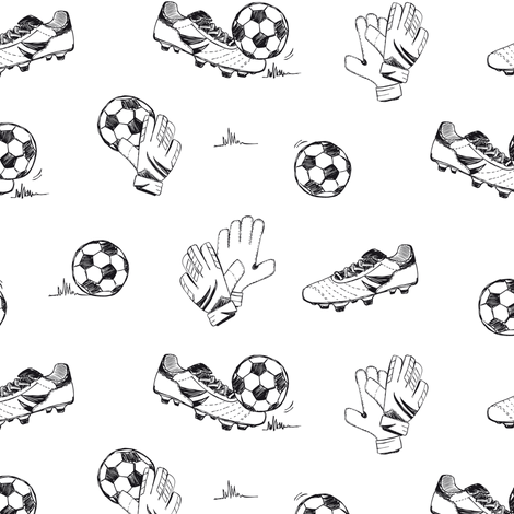 Soccer in black and white fabric by revista on Spoonflower - custom fabric