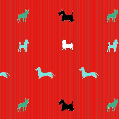 small dogs on red fabric by veerapfaffli on Spoonflower - custom fabric