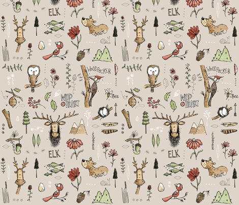 Nature Study - with Elk! - small fabric by mulberry_tree on Spoonflower - custom fabric