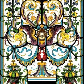 stained glass Gothic Victorian Baroque rococo cherubs angels flowers floral  wings fruits canopy curtains leaf leaves churches thrones state baldachin baldaquin scrolls filigree butterfly butterflies moths lolita elegant egl