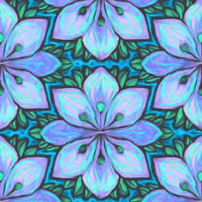 Impressionist Flower in Blue and Turquoise