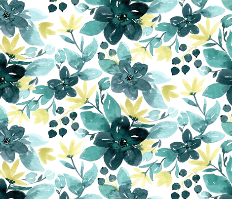 Blended Teals fabric by bluebirdcoop on Spoonflower - custom fabric