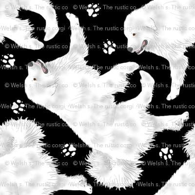 Trotting Great Pyrenees and paw prints - tiny black
