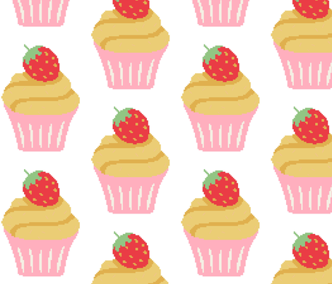 strawberry cupcake fabric by craftwithcartwright on Spoonflower - custom fabric
