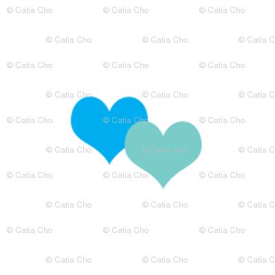 Blue hearts white
