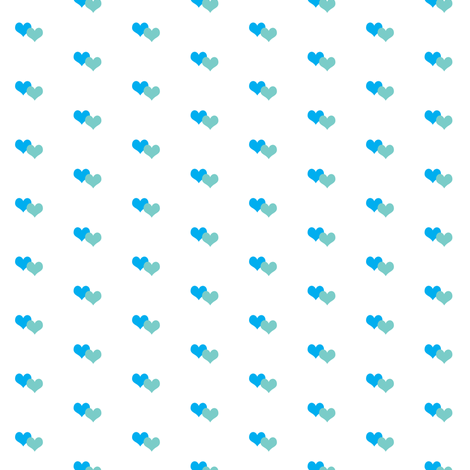 Blue hearts white fabric by catialee on Spoonflower - custom fabric