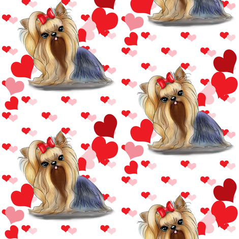 Yorkie Pink Red hearts  fabric by catialee on Spoonflower - custom fabric