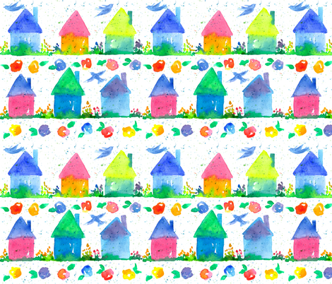 Cottage Houses fabric by countrygarden on Spoonflower - custom fabric