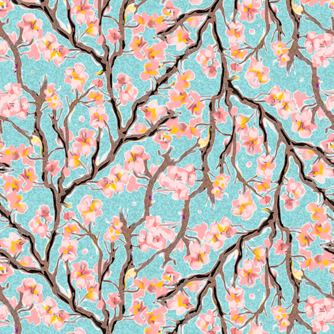 Cherry Blossoms on Turquoise fabric by eclectic_house on Spoonflower - custom fabric