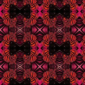 African Zebra Block print: Orange on pinks and purples