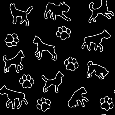 White Dogs n Paws // Outline  fabric by thinlinetextiles on Spoonflower - custom fabric