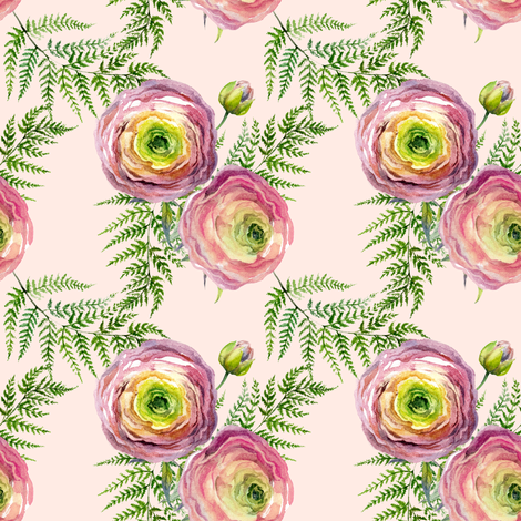 Rainy Day Roses in Soft Pink fabric by shopcabin on Spoonflower - custom fabric