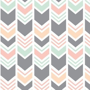 Chevron || Pink,Peach,Mint, and Grey V2