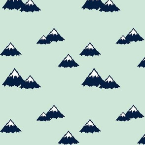 Mountains (navy on mint) || Northern Lights Colleciton