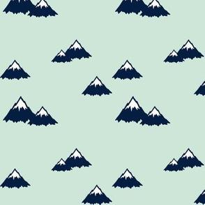 Mountains (navy on mint) || Northern Lights Colleciton