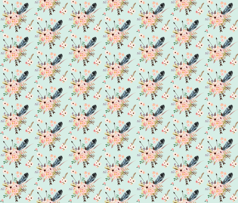 Boho Pink in Green fabric by shopcabin on Spoonflower - custom fabric