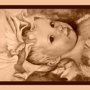 Iris Princess Tea Towel - beige, cream and brown