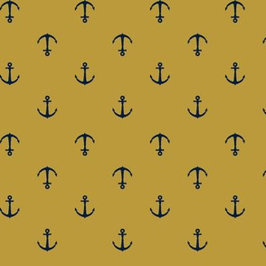 anchors || mustard & navy