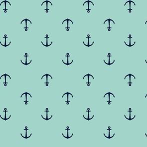 anchors || aqua & navy