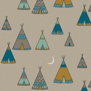 TeePee Village - teal/tan/gold