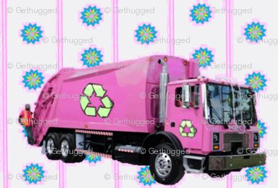 Pink Trash Truck Garbage Truck White Stripe