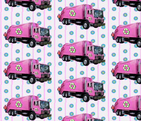 Pink Trash Truck Garbage Truck White Stripe fabric by gethugged on Spoonflower - custom fabric