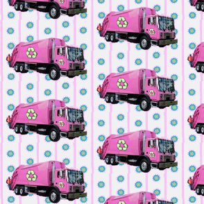 Pink Trash Truck Garbage Truck White Stripe