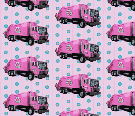 Pink Trash Truck Garbage Truck Purple Stripe fabric by gethugged on Spoonflower - custom fabric