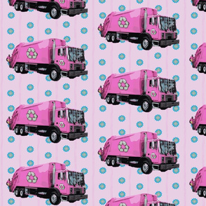 Pink Trash Truck Garbage Truck Purple Stripe