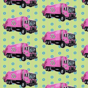Pink Trash Truck Garbage Truck Light Green Stripe
